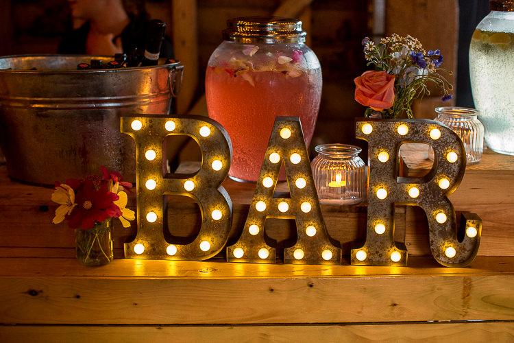Bar Letter Light Sign Fun Multicolour Creative Barn Wedding http://www.mattparryphotography.co.uk/
