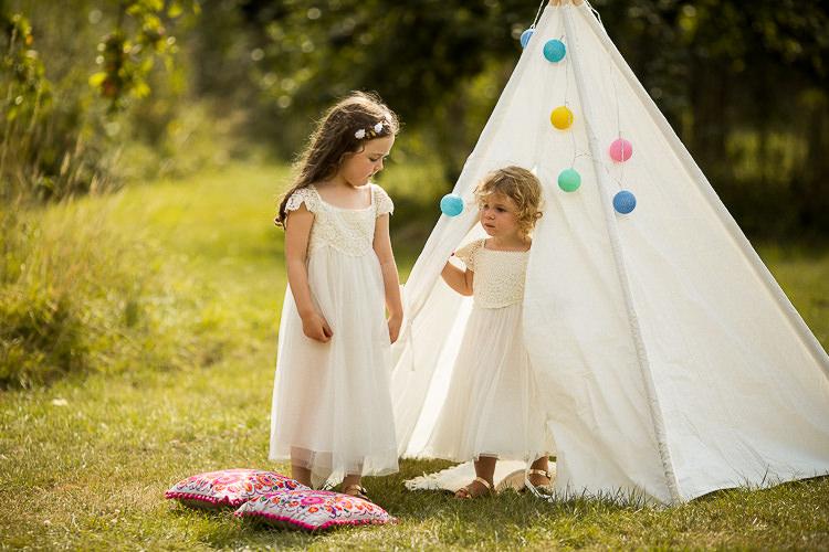 Flower Gils White Dresses Tipi Fun Multicolour Creative Barn Wedding http://www.mattparryphotography.co.uk/