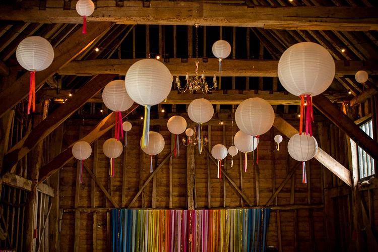 Lanterns Rainbow Ribbon Streamer Backdrop Barn Decor Fun Multicolour Creative Barn Wedding http://www.mattparryphotography.co.uk/