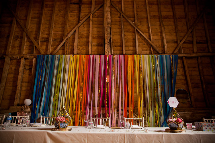 Rainbow Ribbon Streamer Backdrop Barn Decor Fun Multicolour Creative Barn Wedding http://www.mattparryphotography.co.uk/