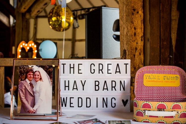 Card Suitcase Cinema Light Sign Fun Multicolour Creative Barn Wedding http://www.mattparryphotography.co.uk/