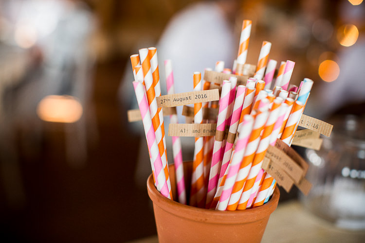 Stripey Straws Fun Multicolour Creative Barn Wedding http://www.mattparryphotography.co.uk/