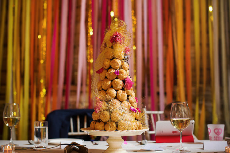 Profiteroles Tower Cake Fun Multicolour Creative Barn Wedding http://www.mattparryphotography.co.uk/