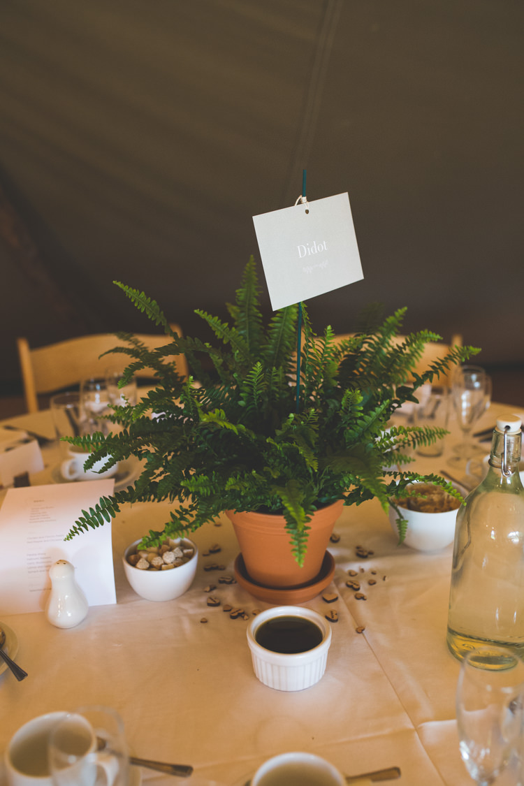 Centrepiece Fern Potted Plant Decor Table Delightfully Natural Pretty Garden Wedding http://www.elliegracephotography.co.uk/