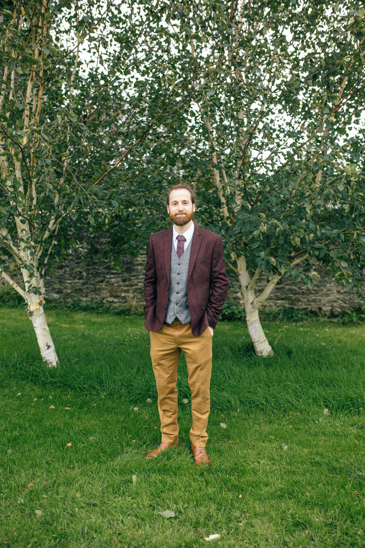 Mismatched Mix Match Groom Burgundy Mustard Suit Jacket Trousers Delightfully Natural Pretty Garden Wedding http://www.elliegracephotography.co.uk/