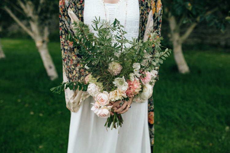 Bouquet Flowers Bride Bridal Greenery Foliage Rose Dahlia Blush Delightfully Natural Pretty Garden Wedding http://www.elliegracephotography.co.uk/