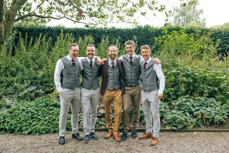 Tweed Waistcoats Groomsmen Delightfully Natural Pretty Garden Wedding http://www.elliegracephotography.co.uk/
