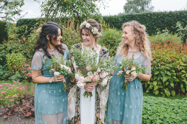 Green Blue Bridesmaid Dresses Delightfully Natural Pretty Garden Wedding http://www.elliegracephotography.co.uk/