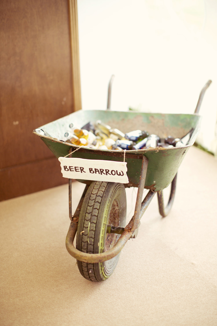 Beer Drinks Wheel Barrow Bar Station Whimsical Woodland Autumn Wedding http://www.rebeccaweddingphotography.co.uk/