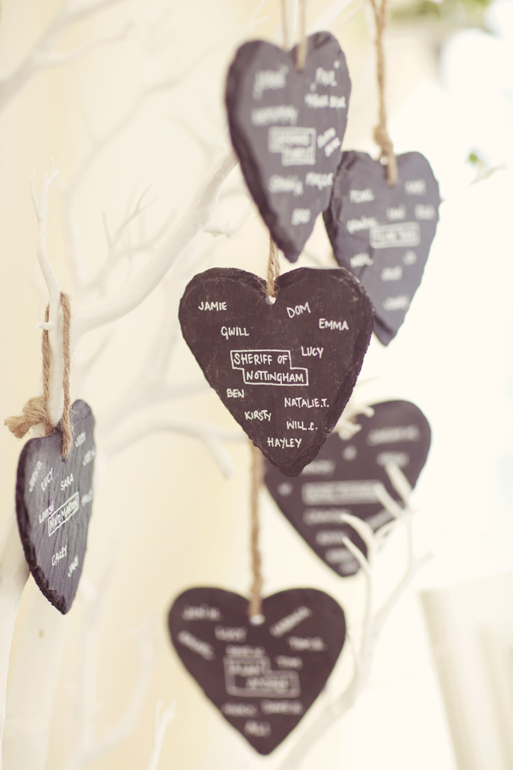 Slate Heart Hanging Seating Plan Table Chart Whimsical Woodland Autumn Wedding http://www.rebeccaweddingphotography.co.uk/
