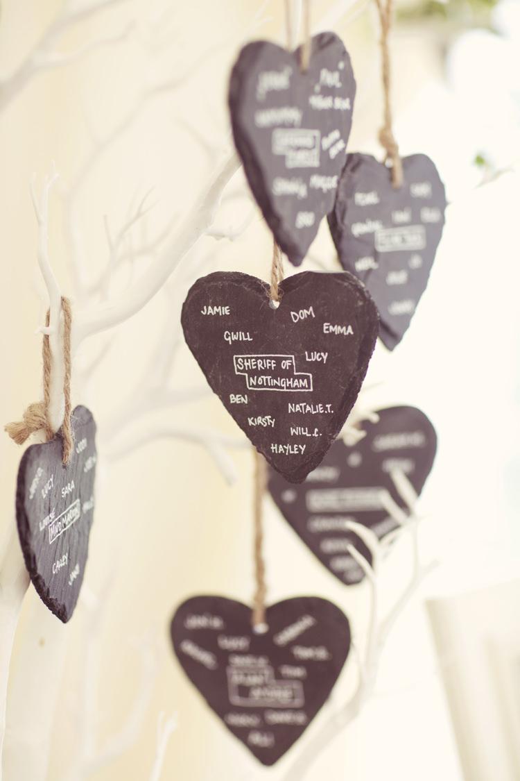 Slate Heart Hanging Seating Plan Table Chart Whimsical Woodland Autumn Wedding http://www.rebeccaweddingphotography.co.uk/
