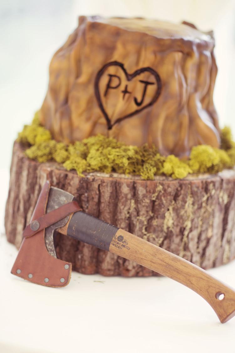 Log Stump Cake Axe Whimsical Woodland Autumn Wedding http://www.rebeccaweddingphotography.co.uk/