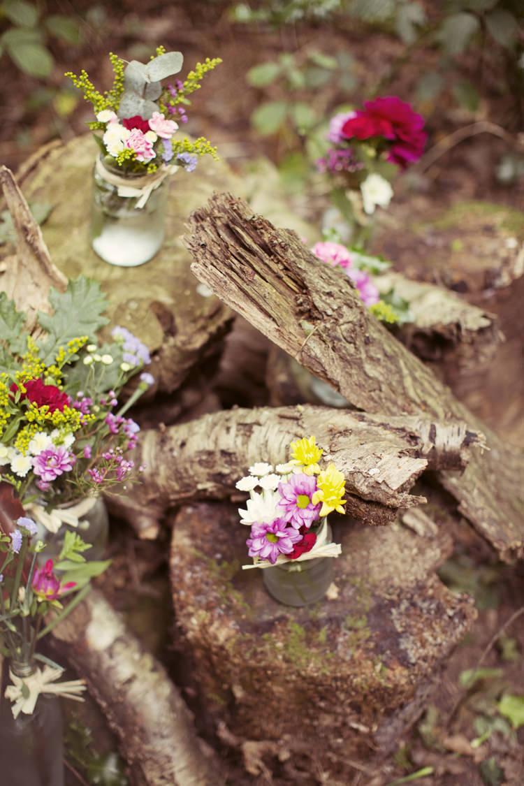 Flowers Jars Decor Ceremony Whimsical Woodland Autumn Wedding http://www.rebeccaweddingphotography.co.uk/