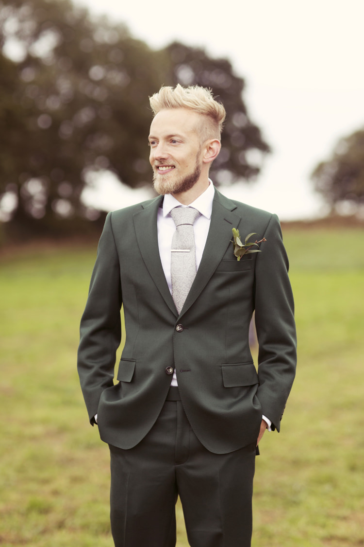 Green Suit Groom Whimsical Woodland Autumn Wedding http://www.rebeccaweddingphotography.co.uk/
