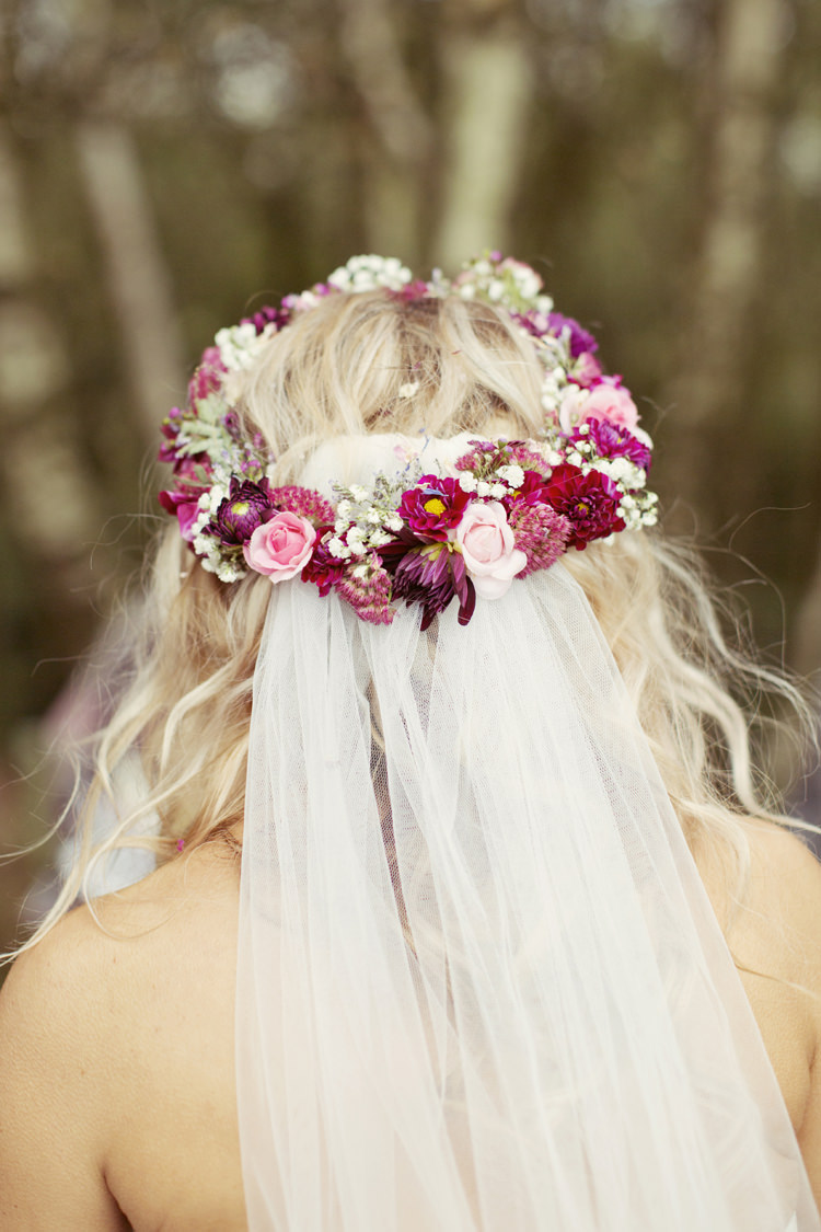 Flower Crown Red Pink Bride Bridal Circlet Headdress Veil Whimsical Woodland Autumn Wedding http://www.rebeccaweddingphotography.co.uk/