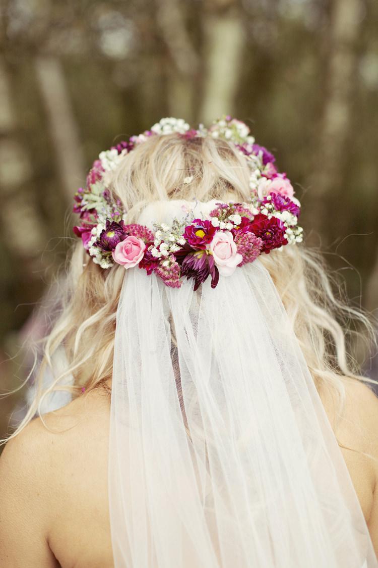 Flower Crown Red Pink Bride Bridal Circlet Headdress Veil Whimsical Woodland Autumn Wedding http://www.rebeccaweddingphotography.co.uk/