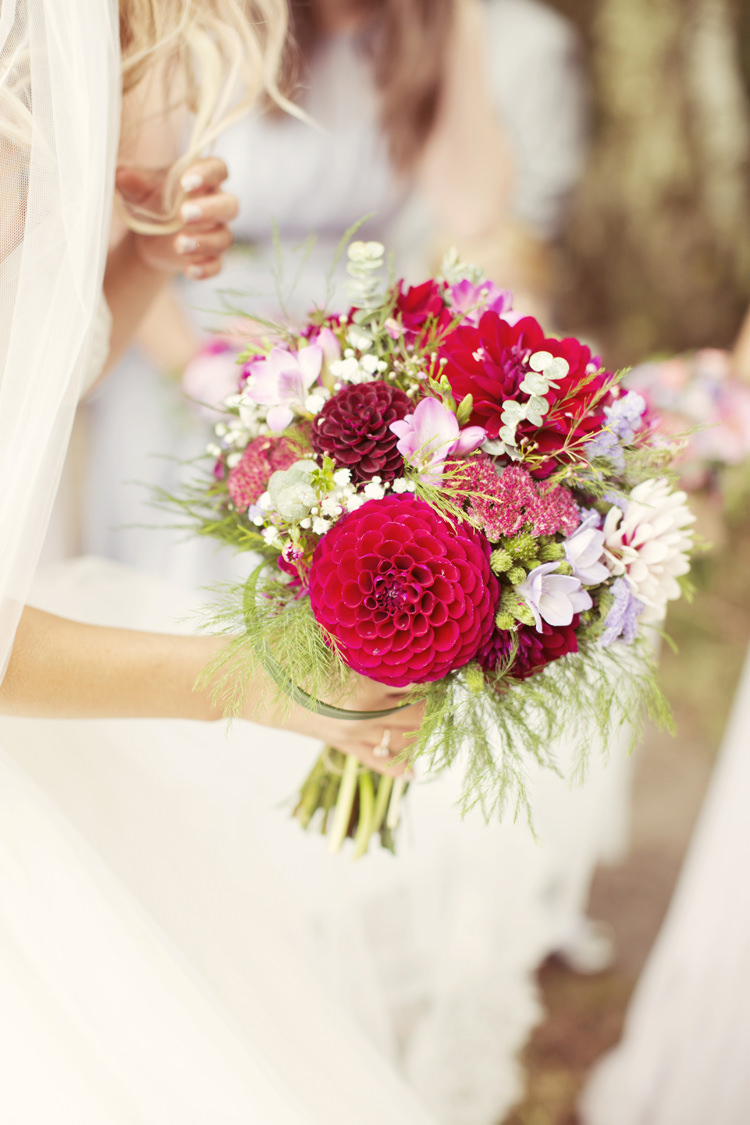 Bouquet Flowers Bride Bridal Dahlia Red Pink Whimsical Woodland Autumn Wedding http://www.rebeccaweddingphotography.co.uk/