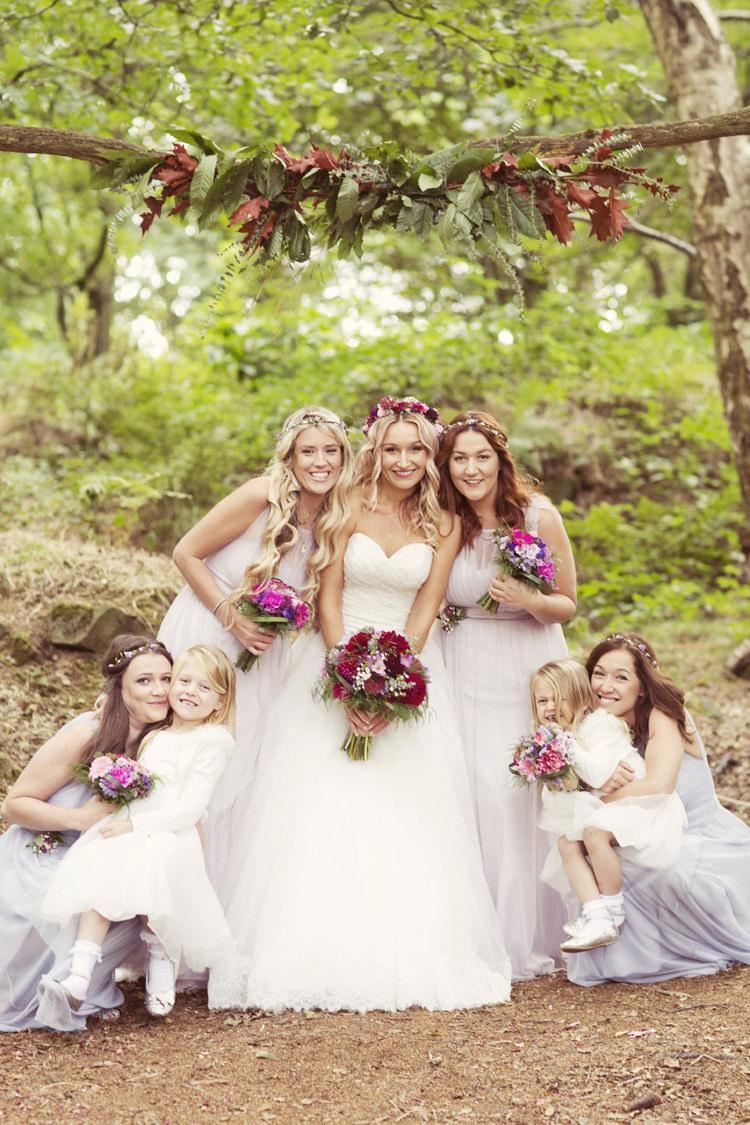 Lilac Grey Long Bridesmaid Dresses Whimsical Woodland Autumn Wedding http://www.rebeccaweddingphotography.co.uk/