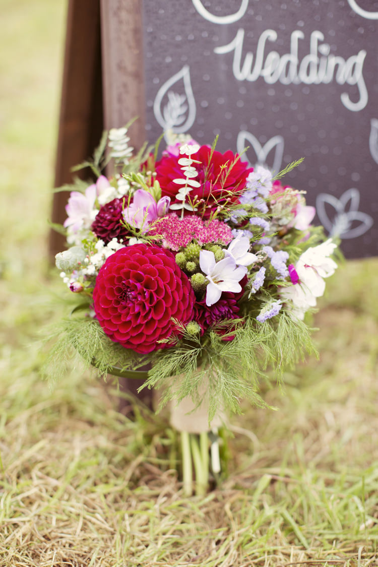 Red Pink Bouquet Flowers Dahlia Whimsical Woodland Autumn Wedding http://www.rebeccaweddingphotography.co.uk/