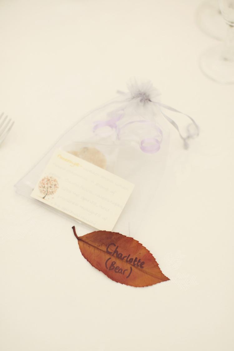 Leaf Place Names Whimsical Woodland Autumn Wedding http://www.rebeccaweddingphotography.co.uk/