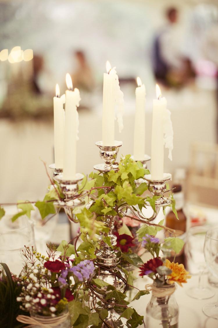 Candle Sticks Decor Flowers Whimsical Woodland Autumn Wedding http://www.rebeccaweddingphotography.co.uk/
