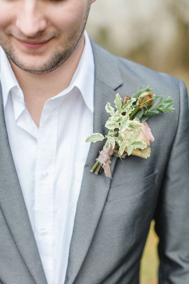 Dusky Pink Buttonhole Groom Greenery Botanical Beauty Abandoned Greenhouse Wedding Ideas https://www.thegibsonsphotography.co.uk/