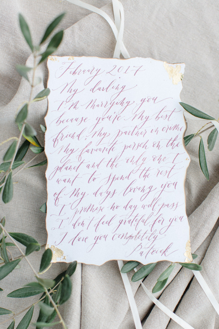 Vows Ceremony Calligraphy Botanical Beauty Abandoned Greenhouse Wedding Ideas https://www.thegibsonsphotography.co.uk/
