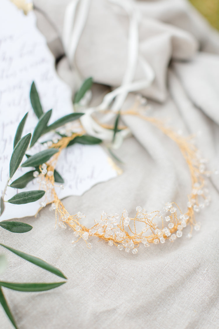 Hair Vine Crown Accessory Bride Bridal Gold Botanical Beauty Abandoned Greenhouse Wedding Ideas https://www.thegibsonsphotography.co.uk/