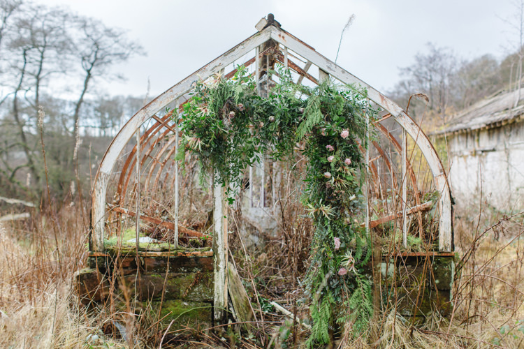 Flower Arch Backdrop Doorway Ceremony Greenery Foliage Botanical Beauty Abandoned Greenhouse Wedding Ideas https://www.thegibsonsphotography.co.uk/