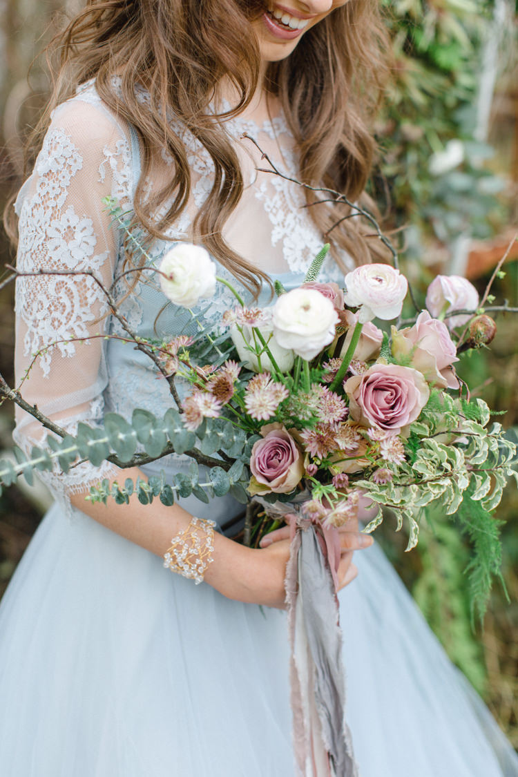 Dusky Pink Bouquet Flowers Bride Bridal Greenery Botanical Beauty Abandoned Greenhouse Wedding Ideas https://www.thegibsonsphotography.co.uk/