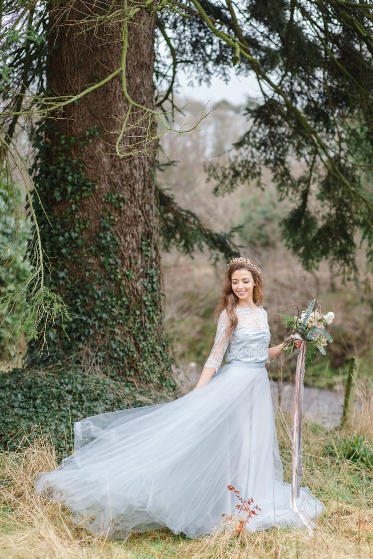 Blue Grey Dress Bride Bridal Skirt Tulle Botanical Beauty Abandoned Greenhouse Wedding Ideas https://www.thegibsonsphotography.co.uk/