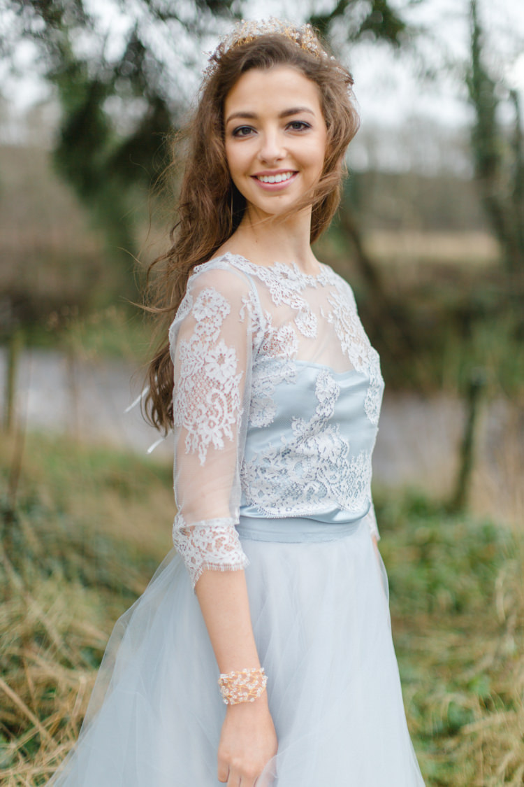 Blue Grey Lace Top Bride Bridal Dress Gown Sleeves Botanical Beauty Abandoned Greenhouse Wedding Ideas https://www.thegibsonsphotography.co.uk/