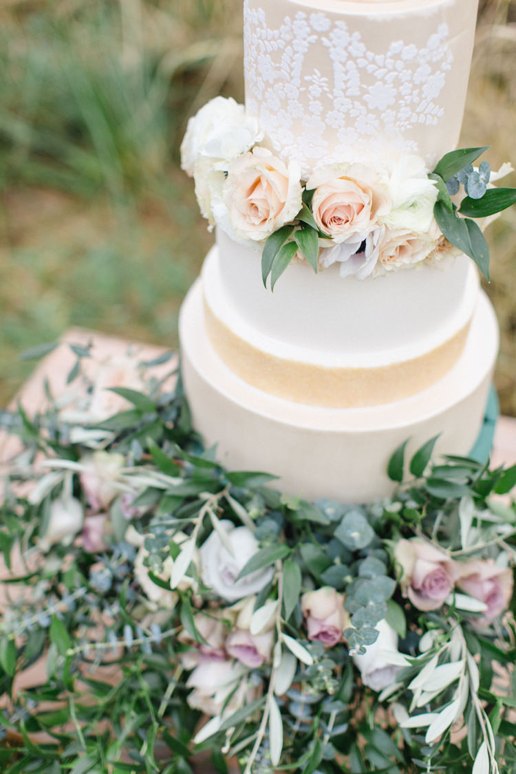 Cake Gold Cream Flowers Wild Organic Pretty Botanical Beauty Abandoned Greenhouse Wedding Ideas https://www.thegibsonsphotography.co.uk/