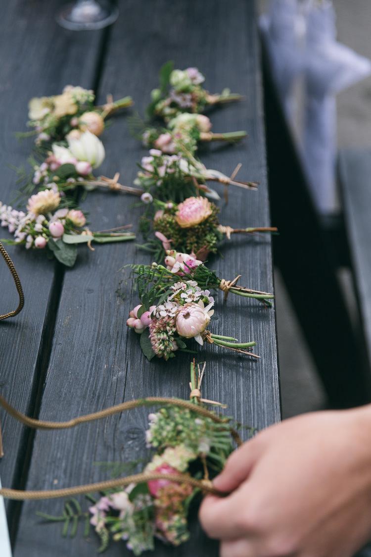 Pink Buttonholes Groom Groomsmen Creative Cool Bohemian Harbourside Wedding http://carohutchings.com/