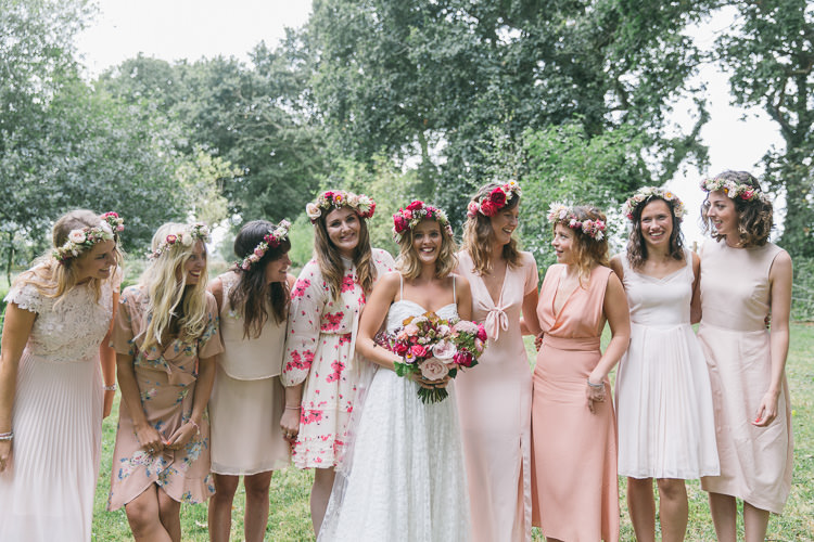 Mismatched Pink Bridesmaid Dresses Creative Cool Bohemian Harbourside Wedding http://carohutchings.com/
