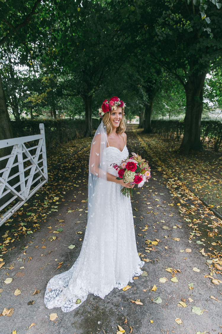 Charlie Brear Dress Bride Bridal Straps Boho Veil Flower Crown Creative Cool Bohemian Harbourside Wedding http://carohutchings.com/