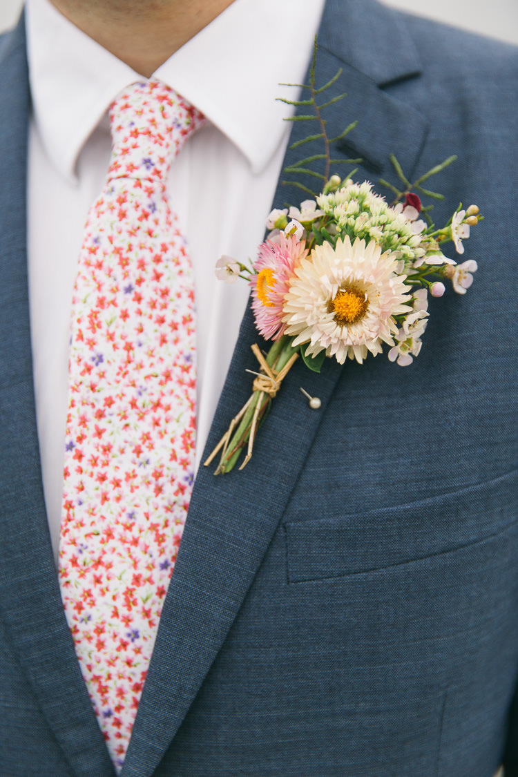 Buttonhole Groom Pink White Flowers Creative Cool Bohemian Harbourside Wedding http://carohutchings.com/
