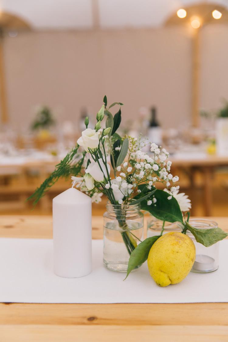 Bottle Flowers Lemon Jar Candles Decor Creative Cool Bohemian Harbourside Wedding http://carohutchings.com/