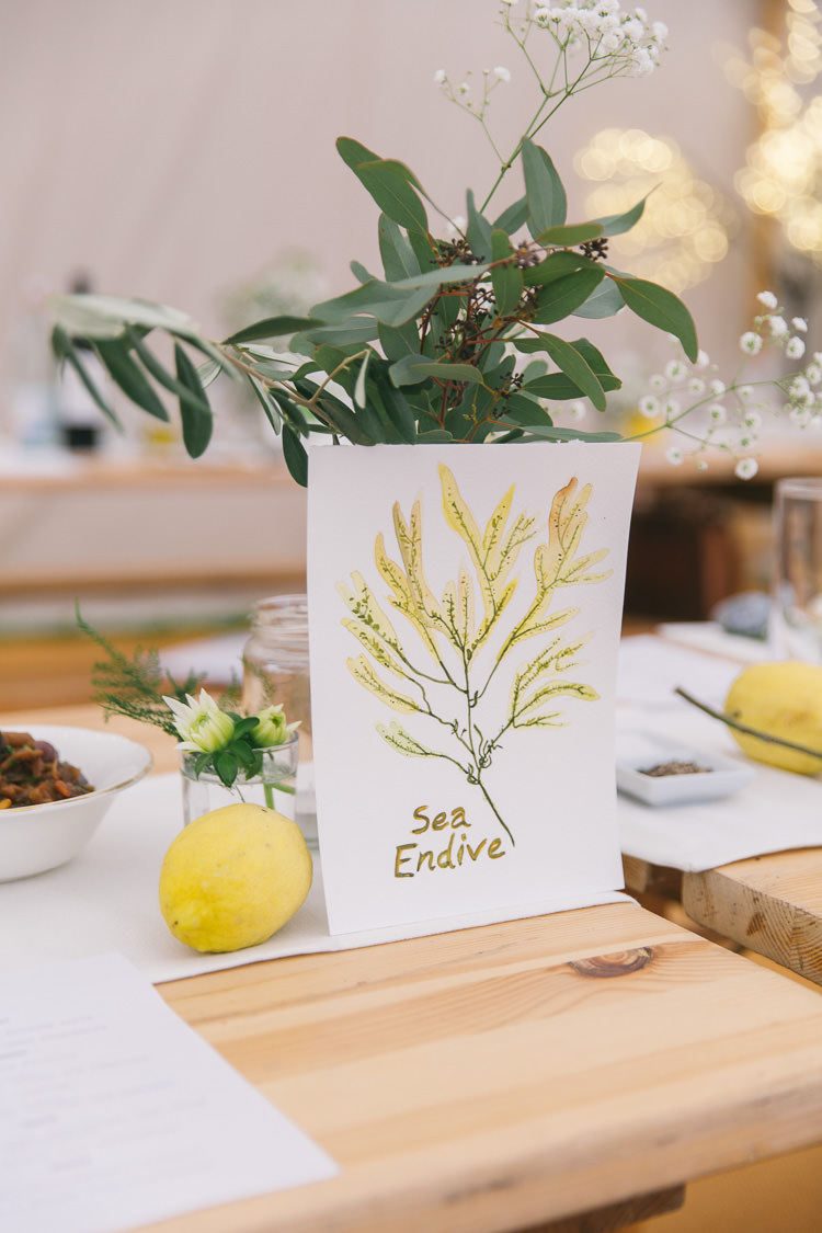 Illustrated Watercolour Table Names Creative Cool Bohemian Harbourside Wedding http://carohutchings.com/