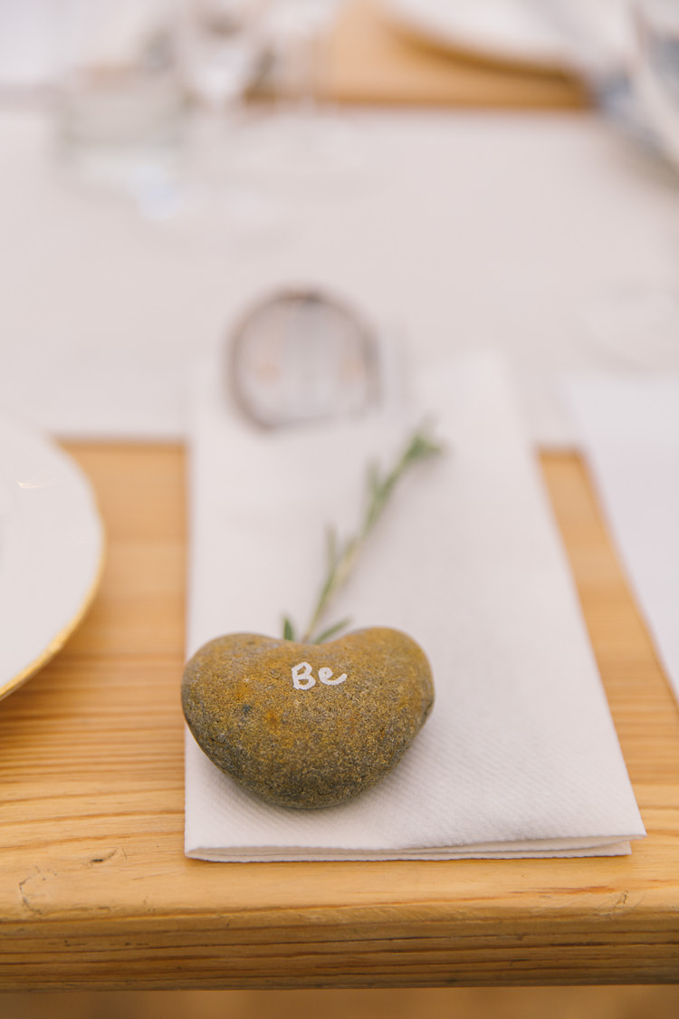 Pebble Place Name Setting Card Creative Cool Bohemian Harbourside Wedding http://carohutchings.com/