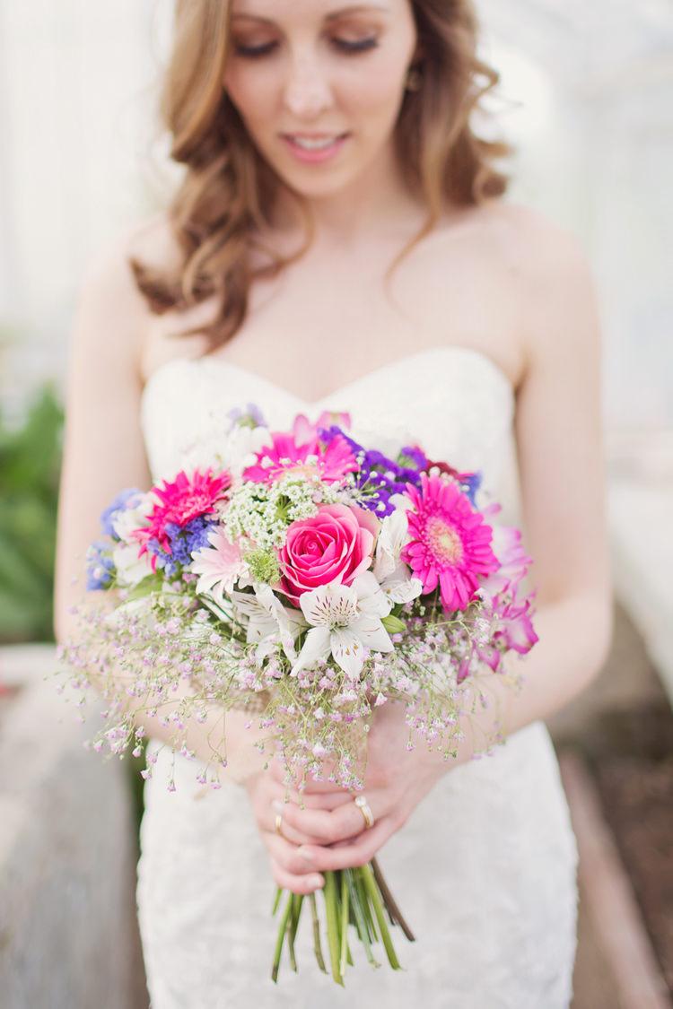 Bride Bridal Bouquet Pink Gerbera Gypsophila Purple Flowers Colour Pop Summer French Chateau Wedding http://www.cottoncandyweddings.co.uk/