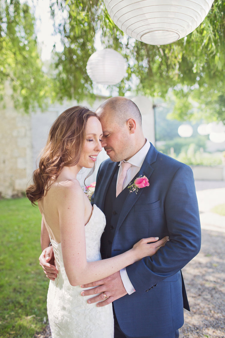 Bride Bridal Maggie Sottero Ascher Gown Dress Sweetheart Neckline Alexandre Groom Three Piece Pink Tie Colour Pop Summer French Chateau Wedding http://www.cottoncandyweddings.co.uk/