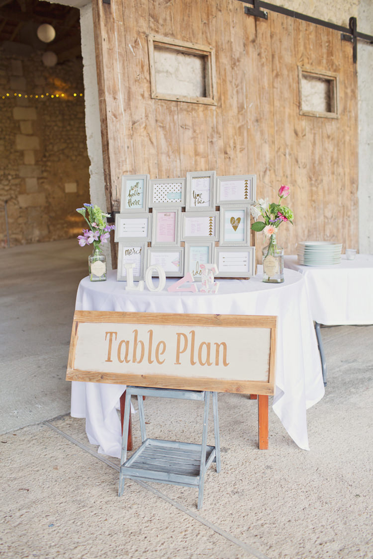 Table Plan Seating Chart Frame Love Wood Sign Colour Pop Summer French Chateau Wedding http://www.cottoncandyweddings.co.uk/