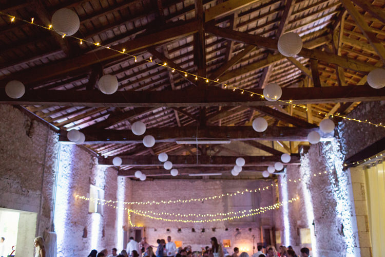 White Paper Lanterns Fairy Lights Pea Festoon Colour Pop Summer French Chateau Wedding http://www.cottoncandyweddings.co.uk/