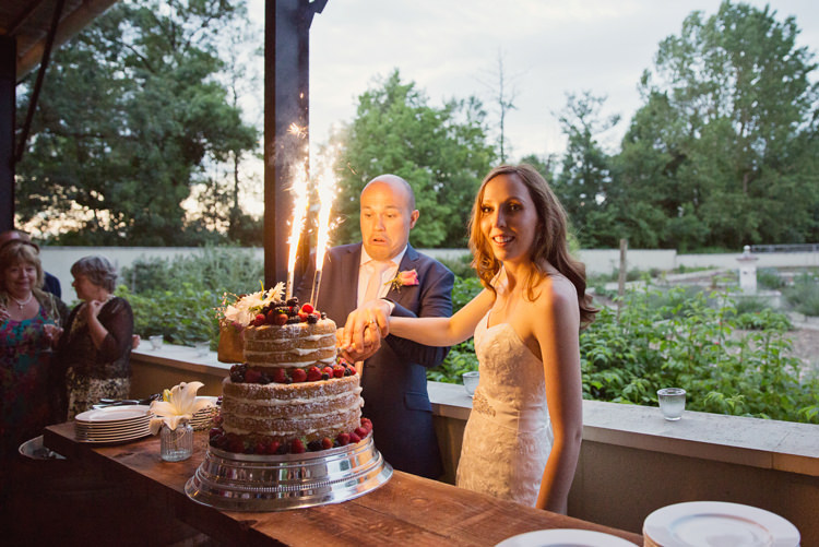 Naked Cake Cutting Sparklers Berries Colour Pop Summer French Chateau Wedding http://www.cottoncandyweddings.co.uk/