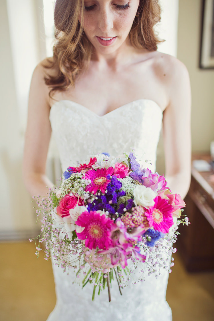 Bride Bridal Bouquet Pink Purple Gerbera Gypsophila Roses Colour Pop Summer French Chateau Wedding http://www.cottoncandyweddings.co.uk/