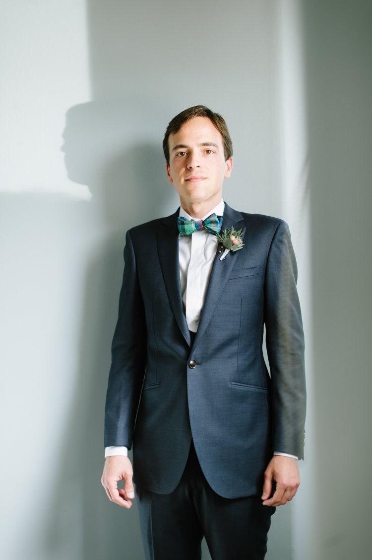 Blue Suit Tartan Bow Tie Groom Opulent Metallics City Library Wedding http://www.croandkowlove.com/