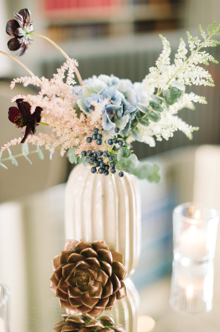 Flowers Vase Whimsical Wild Opulent Metallics City Library Wedding http://www.croandkowlove.com/