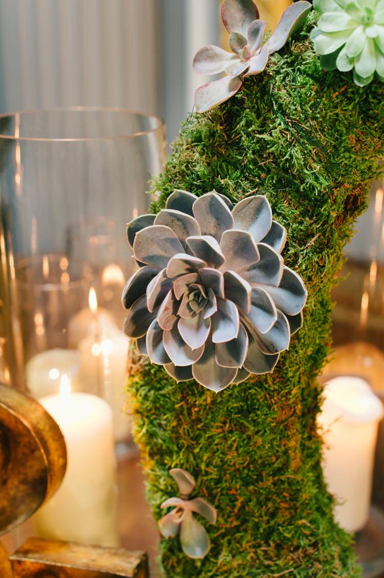 Succulent Moss Decor Opulent Metallics City Library Wedding http://www.croandkowlove.com/