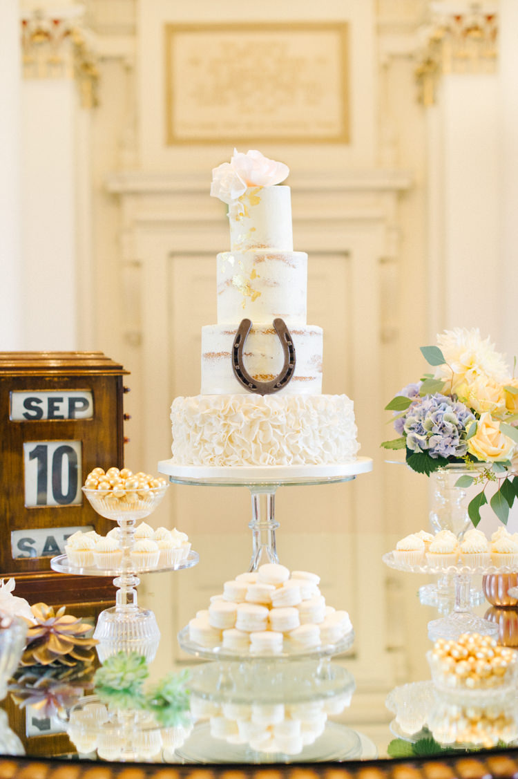 Cake Table Dessert Gold Opulent Metallics City Library Wedding http://www.croandkowlove.com/